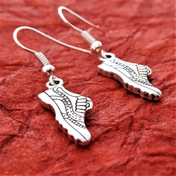 Runner Earrings, Running Shoe Earrings, Gifts for Runners Bikers, Crossfit Runner Jewelry, Sneaker Charms, Fitness Sports Jewelry Gifts