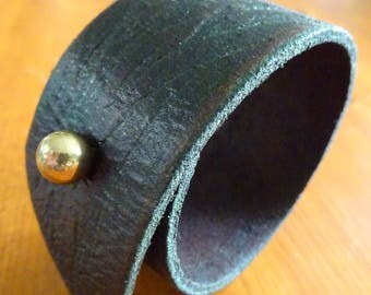 Hand made leather and brass cuff / bracelet