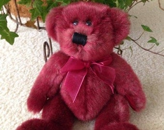 "Vintage Stuffed Burgundy (Dark Red) 9"" Teddy Bear (1990's)"