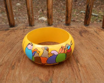 Bracelet Birds on a Wire hand painted wood bracelet