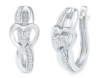 Diamond Heart Hoop Earrings, Sterling Silver Heart Earrings, Heart Fashion Jewelry