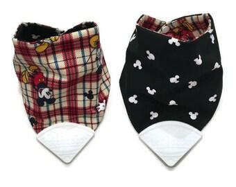 Baby Teething Bib- Hankerchief Bib- Teether Bib- Teething Corner- Chew Bib- Bandana Bib- Drool Bib- Bibdana- Silicone Bib- Mickey Mouse