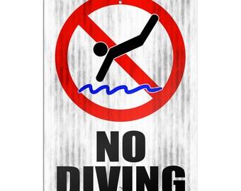 "No Diving Novelty Metal Sign 6"" X 9"""