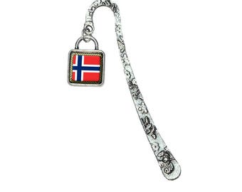 Flag Of Norway Book Bookmark With Square Antiqued Charm