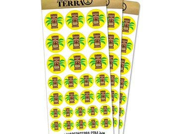 Tropical Tiki Head Removable Matte Sticker Sheets Set