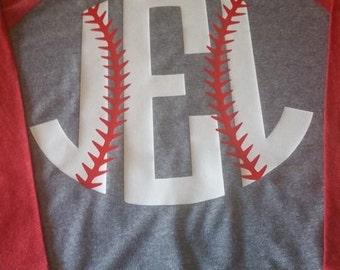 monogram baseball raglan tshirt