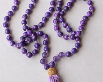 Long Purple Knotted Mala Necklace with Cotton Tassel and Elephant Ceramic Guru Bead for Yoga & Meditation