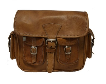 Small Polished Leather Moroccan Camera Bag Satchel | 80's Style