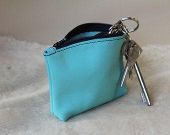 Sky blue zipped leather change purse