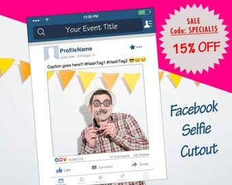 Facebook Frame, Facebook prop for parties, birthday, weddings, bridal shower, baby shower [Printed, MOUNTED, Shipped]