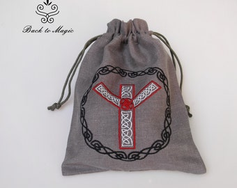 Embroidered rune pouch. Rune Algiz. Rune bag. Runic divination. Pagan. Wiccan. Magic accessories. Asatru. Odinism. Gift for viking. Celtic
