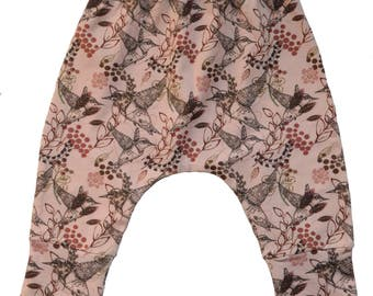 Baby Hummingbird bird, harem pants, baby pants, pink baby pants,