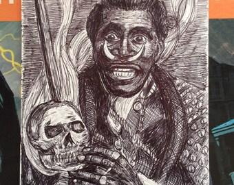 Screamin' Jay Hawkins Original Ball Point Pen Drawing (CKS3)