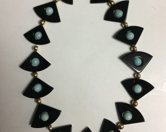 Unusual Black Onyx and Amazonite Beaded Necklace with Gold Tone spacers