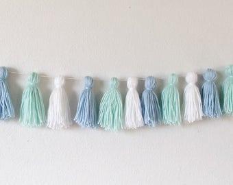 Yarn tassel garland >>> light blue, mint, white... nursery decor , home decor, wall decor, party garland