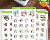 Sassy Bunny Kawaii Girl Easter Set - Planner Stickers - Planner Decorations - Kikki-K & Erin Condren