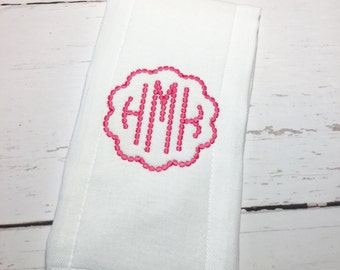 Personalized Burp Cloth, Monogrammed Burp Cloth, Embroidered Burp Cloth, Dot Monogram Burp Cloth, Natural Dot Monogrammed Burp Cloth