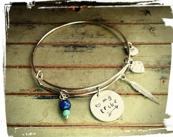 My tribe ll - Charm Bangle - Hand Stamped Charm//My tribe//Arrow - Feather Charm/Lapis Lazuli Bead
