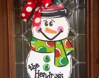 Christmas snowman door hanger Snowman door hanger Christmas Door Hanger