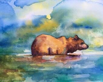 Summer bear -original watercolor painting