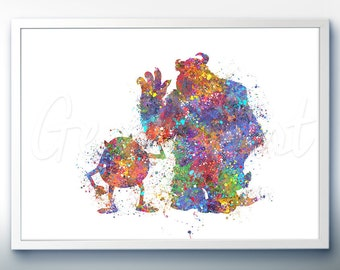 Disney Pixar Monsters Inc Mike and Sully Watercolor Poster Print - Watercolor Painting - Watercolor Art - Kids Decor- Nursery Decor [2]