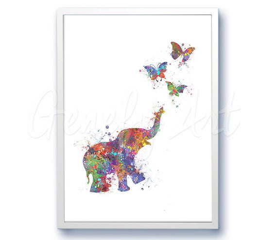 Baby Elephant Chasing Butterflies Watercolor Art Print