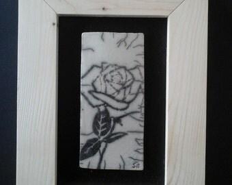 Tableau en ceramique raku : la rose