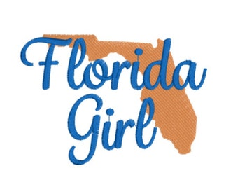 Florida Girl embroidery design emb file machine applique design Instant Download Applique Design FILL STITCH & applique designs PES dst vip