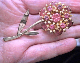 Pink Rhinestone Flower Brooch