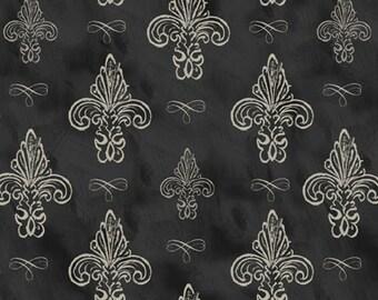 David Texttiles Fluer De Li Fabric Cotton Fabric Dark Grey Fluer De Li Fabric Paris Fabric Cotton by the yard
