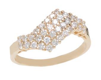 Retro Diamond Zig Zag Ring