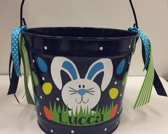 Personalized Easter Basket -personalized Easter Bucket- Easter Bucket- 10 Quart Bucket- Easter Pail- Personalized boys bucket