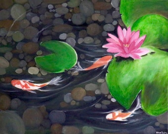 Koi fish pond painting in oil