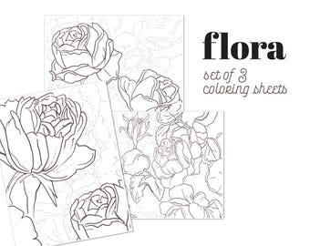 FLORA | Set of 3 printable coloring sheets