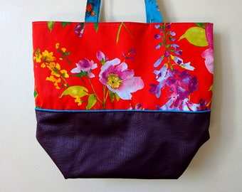 Red & Blue 2 faces Tote bag, flowers motif associated to a chocolate brown soft leather imitation