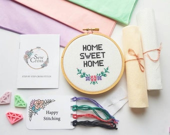 Home Sweet Home Cross Stitch Kit - Floral Cross Stitch - Modern Cross Stitch -New Home Gift - Embroidery Kit - Beginners Cross Stitch - UK