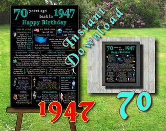 1947 - 70th Adult Birthday Chalkboard, 70th Birthday Poster, 70th Birthday Centerpiece, Instant Download, Printable Digital files (#211.d2)