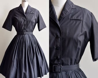 1950s Dress / Classic Black Shirtwaist Dress / Vintage 50s Black Rockabily Cotton Circle Skirt Dress / Medium Large