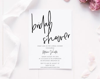 Printable invitations, Party printables, Bridal shower invitations, Party supplies, Party decor, Modern Bridal Shower Invite, Digital invite