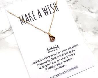 Buddha dainty necklace, yoga necklace, spiritual jewelry, make a wish necklace, buddha charm necklace, gift for her, yoga jewelry
