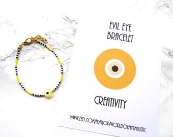 Evil eye dainty bracelet, multicolor bracelet, evil eye jewelry, simple everyday jewelry, friendship bracelet, stackable bracelet