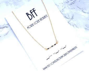 BFF morse code necklace, best friends necklace, BFF gift, dainty minimalist necklace, delicate simple necklace, custom morse code jewelry