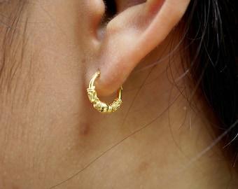 Bali Ear Hoops, 10mm Gold Plated Bali Hoops, Gift Earrings, Piercing Ear Hoops, Simple Earrings, Minimal Earrings, Bohochic , (E59)