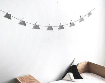 Mountain banner, Grey mountain garland, mountain nursery decor, mountain wall decor, mountain room decor, modern nursery, monochrome nursery