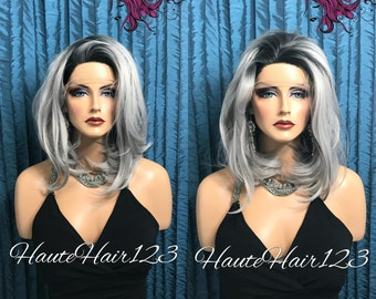 Mutiparting Gray Ombre Bob Human Hair Blend Lace Front Wig
