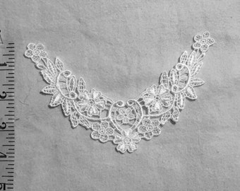 White Venice Lace yoke applique, bridal applique, craft-doll applique-06150-00-WH