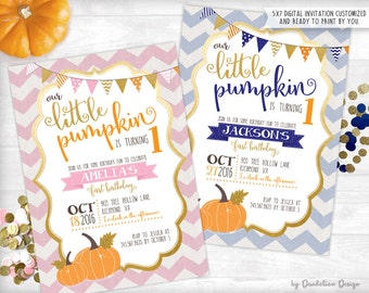 Our Little Pumpkin is turning ONE Invitation Printable