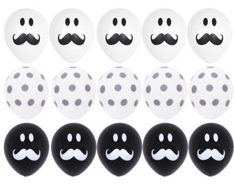 15X White Black Mustache Smile Balloons Gray Polka Dots Balloons Baby Shower, Wedding, Birthday Christening Party Decorations