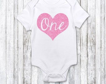 First birthday bodysuit - one in light pink glitter heart - birthday girl bodysuit - first birthday party - first birthday photoshoot outfit