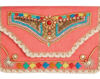 Hand Woven Coral Spring Clutch